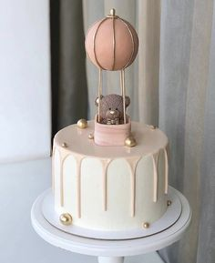 Pretty Birthday Cakes, Baby Birthday Cakes, Baby Girl Cakes, Girls First Birthday Cake, Elegant Birthday Cakes, Bear Birthday, Birthday Recipes, Gateau Baby Shower, Baby Shower Cakes