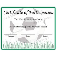 free printable soccer participation certificate | Soccer Certificate of Participation Certificate by maxandotis