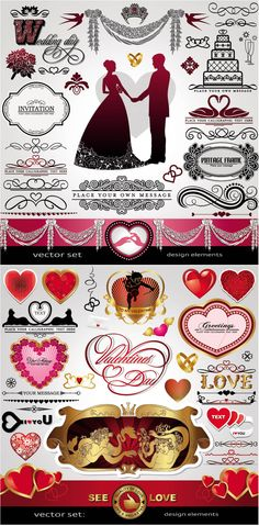 Wedding and love design elements vector