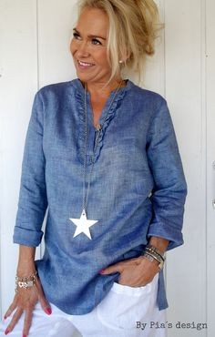 Love this blue! BY PIA'S Linen blouse Urban / @bypiasdesign