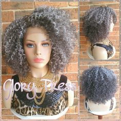 Our Curly Afro Lace Front Wig is Big, Bold and Beautiful! If your looking for a wig that will give you that WOW FACTOR look no further!! This unit is very natural and believable that no one will know its a wig.  It comes with a lace part. You can curl this beauty up to 400F. This wig is very versatile and can be wore in so many ways. The back part of the wig cap is machine wefted. The wig cap is breathable and comes elasticated to fit every head size and shape. *Color may appear slightly…