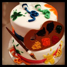 Painter cake#le torte di ste# colors cake# happy birthday cake#