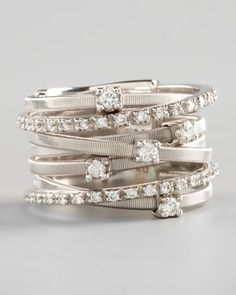 Goa Seven-Row White Gold Diamond Ring by Marco Bicego at Neiman Marcus.