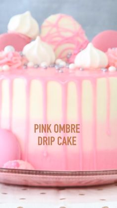 How To Video! Pink Ombre Drip Layer Cake-Pink ombre and top off a three-tiered pink mini vanilla that recipes dessert recipes dessert brunch recipes dessert cake recipes dessert easy recipes dessert kids recipes dessert video Dessert Party, Dessert Table Birthday, Dessert Bar Wedding, Birthday Desserts, Tastemade Dessert, Summer Dessert Recipes, Dessert Cake Recipes, Easter Recipes, Cake Decorating Videos
