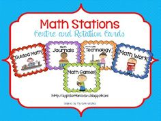 Here's a set of math rotation station cards for your visual schedule. Includes guided math, math journals, math with technology, math work, and math games.