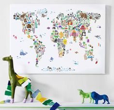 I've just found Animal World Map Print. A map of the world created from colourful animals, landmarks and other curiosities on a plain white, ivory/cream, blue or pink background. Fine Art Prints, Canvas Prints, Framed Prints, Maps For Kids, Color Depth, Colour, Africa Map, Colorful Animals, Ideas