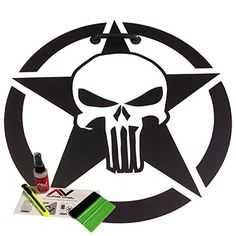 "Hood decal Punisher Star oscar mike 18"" star fits jeep wrangler JK TJ YJ XJ KL WJ universal fit w/ install kit"