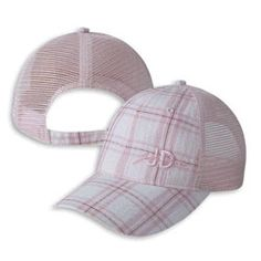 """LadiesJohn Deere Pink Plaid Cap    Awesome pink plaid front John Deere hat with mesh back. The Unstructured bill gives this cap a perfect look and the subtle """"JD"""" embroidered in pink block letters on teh left hand side of the hat is perfect.     This low profile hat has a tri-glide closure to give it a more polished and fittled look.     $15.99"""