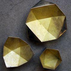 studio-arete:  Task, New York, Brass Origami Bowls