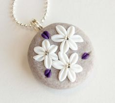 Purple White and Violet Flower Polymer Clay Necklace by mlwdesigns, $16.00