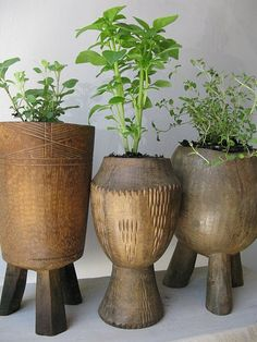 wooden tribal planters