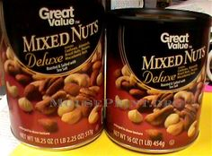 Mouse Print exposes the strings and catches in advertising fine print. Price Increase, Mixed Nuts, Serving Size, Walmart, Nutrition, Packaging, Food, Essen, Meals