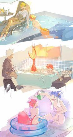 IS THAT SHIROU AS A MERMAID!!!!! Manga Anime, All Anime, Anime Art, Gilgamesh Fate, Shirou Emiya, Fate Stay Night Anime, Fate Servants, Fate Anime Series, Fate Zero