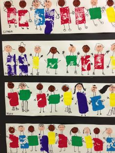 Apex Elementary Art: friends come in all shapes and sizes printed shape with sponge or cut sponge, glue circle face draw face legs and arms Collaboratif ...