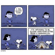 Happiness is a marshmallow. Peanuts Cartoon, Peanuts Snoopy, Peanuts Comics, Snoopy Cartoon, Snoopy Comics, Cute Comics, Snoopy Love, Snoopy And Woodstock, Lucy Van Pelt