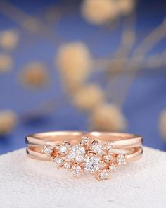 Diamond Cluster Ring Set Rose Gold Unique Antique Stacking