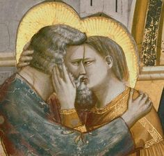 Giotto di Bondone, The Meeting at the Golden Gate, 1303-1305, fresco.  Scrovegni (Arena) Chapel, Padua