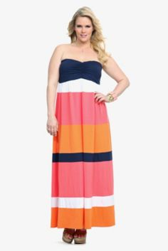 Coral Navy Orange Coral Block Maxi Dress... LOVE