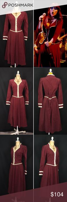 """1970s Corduroy & Satin lace Trim Renaissance Dress Vintage 1970's Gunne Sax By Jessica McClintock Corduroy Dress. Excellent vintage condititon. Deep red corduroy and ivory satin lace. Pearl buttons. Hidden zip closure with back tie accent. Satin lined hip pockets. Unlined. Proudly made in San Francisco, USA. Labeled a size 11. Measurements of the dress in inches when flat: Shoulders: 16"""" Bust: 18"""" Waist: 16"""" Hips: 28"""" Sleeves: 23"""" Length: 46"""" Contact me with any questions you may have…"""