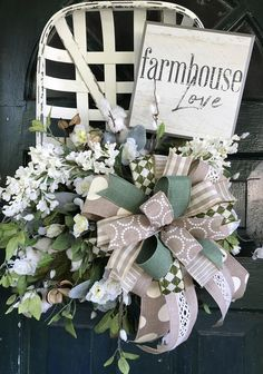 Farmhouse style floral tobacco basket Mother's Day door hanger wreath