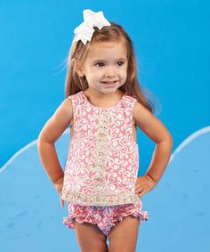 Look at this Mud Pie Pink Flamingo Pinafore Tank & Diaper Cover - Infant on #zulily today!