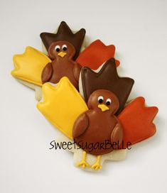Cute little turkey cookies- using a leaf and flower cookie cutter
