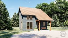 This Modern style cabin plan features a large kitchen and living room with a large bedroom on the second level. Metal House Plans, Narrow Lot House Plans, Barn Apartment, Garage Apartment Plans, Small Log Homes, Log Cabin Homes, Log Home Plans, Barn Plans, Metal Building Homes