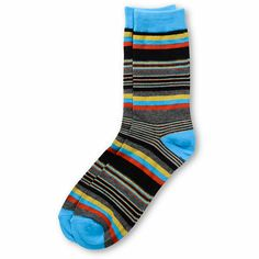 Keep things no nonsense with the Empyre Primary Stripe socks in the red, blue, grey, black, and yellow. These striped crew socks feature an all over striped pattern with tons of colors to keep your feet happy day after day. Thanks to a stretchy blended construction you will be in comfort all day.