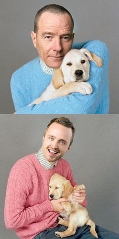 Bryan Cranston and Aaron Paul holding puppies