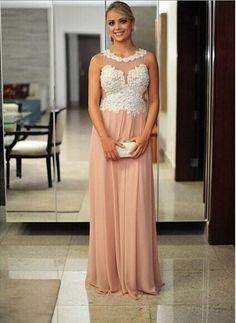 5eaacca17496a 2015 Custom Made Crew Neck Sleeveless Applique Beading Champagne Long A-line  Evening Dresses Prom Dresses Vestido De Festa