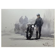 57 Ideas Retro Bike Illustration Cafe Racers For 2019 Motorcycle Posters, Motorcycle Art, Bike Art, Scooter Moto, Bike Illustration, Retro Bike, Art Plastique, Watercolor Paintings, Watercolours