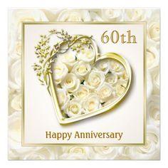 White roses and heart 60th Wedding Anniversary Custom Invites