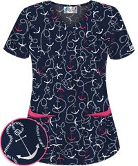 Style # UA638ANA: UA All Aboard Navy 5 Pocket Print Scrub Top