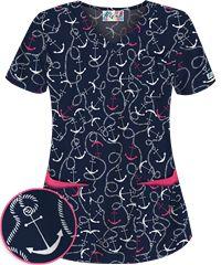 Style # UA638ANA: UA All Aboard Navy 5 Pocket Print Scrub Top