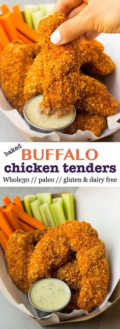 A healthy and gluten free spin on Buffalo Chicken Tenders! A healthy and gluten free spin on Buffalo Chicken Tenders! They take 30 minutes and are paleo & Whole30 approved - perfect for lunch, dinner, or tailgating! - Eat the Gains