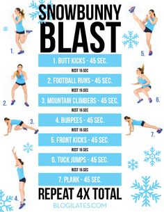 Click to print. Hey guys! This is your Snowbunny Blast routine that you will be doing every Wednesday for the month of December! This is a HIIT (high intensity interval training) workout that will get