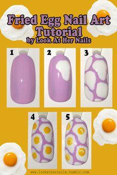 Fried egg nail art tutorial Click through for full instructions By LookAtHerNails Pink Nail Art, Cute Acrylic Nails, Cute Nails, Edgy Nails, Funky Nails, Grunge Nails, Bling Nails, Nail Swag, Nail Art Hacks