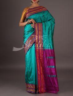 Aaushi Sea Blue And Purple Pleasing Pure Narayanpet Silk Saree