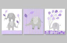 purple and gray nursery nursery elephant by SweetPeaNurseryArt, $41.00