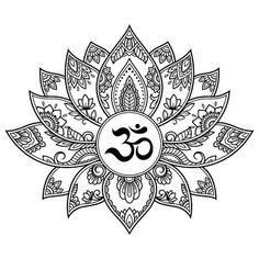 Draw Flower Patterns Mehndi Lotus flower pattern with mantra OM symbol for Henna drawing and tattoo. Decoration mandala in ethnic oriental, Indian style. Mandala Art, Mandalas Painting, Mandalas Drawing, Lotus Mandala Design, Mandala Symbols, Tattoo Pink, Lotus Tattoo, Mehndi, Mantra Tattoo