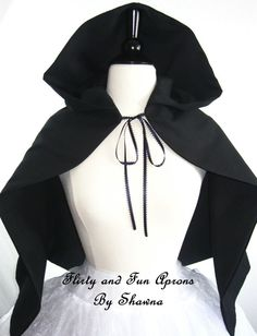 Adult Black Hooded Cape Witch Cape Black by FlirtyandFunAprons, $40.00