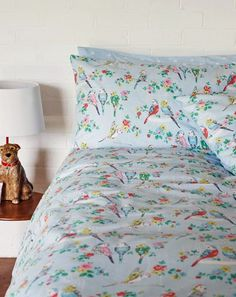 Cath Kidston Budgies Duvet Set - A collection of budgies perched on branches of flowers in a palette of pastels featuring the blue spot print on the reverse side. Double Duvet Set, Bed Linen Online, Cheap Bed Sheets, Bed Linen Design, Quilt Cover Sets, Budgies, Duvet Sets, My New Room, Beautiful Bedrooms
