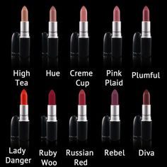 Mac Lipstick Wish List Beauty And The Beat, Beauty Make Up, My Beauty, Beauty Hacks, Mac Red Lipsticks, Lady Danger, Pretty Girl Rock, Russian Red, Ruby Woo