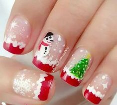 Festive Nail Art Designs for Christmas Xmas Nail Art, Cute Christmas Nails, Holiday Nail Art, Xmas Nails, Merry Christmas, Christmas Snowman, Diy Christmas, Christmas Wreaths, Nail Polish Designs