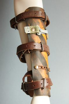 Leather Bracer - Handmade Leather Cuff Bracelets - Leather Accessories - Leather Jewelry - Leather Armor - Gladiator Bracer - Mad Max Armour Designer and maker of the project is Viola Sychowska founder of Wasted Couture. This single vambrace is made of genuine leather. The bracer