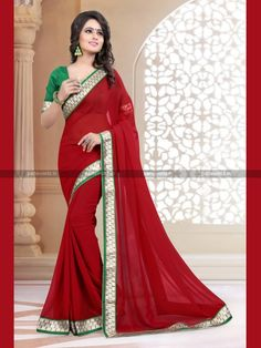 Red Georgette Lovely Casual Saree
