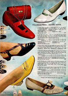 60s Shoes, Retro Shoes, Vintage Shoes, Vintage Outfits, Vintage Clothing, Women's Shoes, 60s And 70s Fashion, Fashion Vintage, Retro Fashion