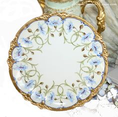 Antique French Limoges Hand Painted Blue Wild Flow