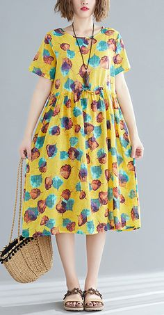 Simple o neck patchwork cotton Wardrobes Fitted Photography yellow print cotton Dresses Summer Simple Short Dresses, Simple Prom Dress, Casual Summer Dresses, Trendy Dresses, Women's Fashion Dresses, Stylish Outfits, Yellow Dress Summer, Affordable Prom Dresses, Yellow Print