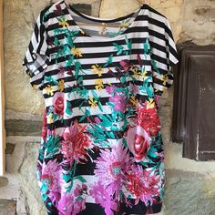 striped black and white floral + sequin tunic Item: striped black and white floral + sequin tunic with gathered sides  Brand: no tag  Tag size: no tag- suggested large   ~measurements are estimations taken on a flat surface- please double bust for accurate measurement. Tops Tunics